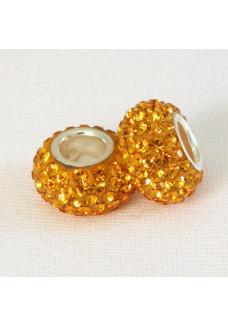 Amber Orange Crystal Shimmer Bead