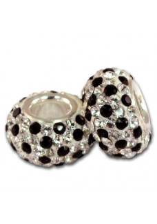 Black & Crystal Dots Shimmer Bead