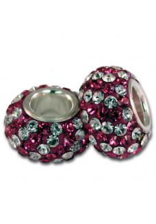 Fuchsia/Crystal Diagonal Stripe Shimmer Bead