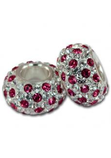 Fuchsia & Crystal Dots Shimmer Bead