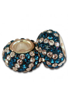 Teal/Crystal Diagonal Stripe Shimmer Bead