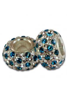 Teal & Crystal Dots Shimmer Bead